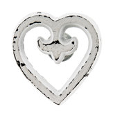 Distressed White Heart Metal Knob